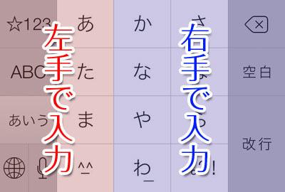 左の2列は左手で、右の3列は右手で