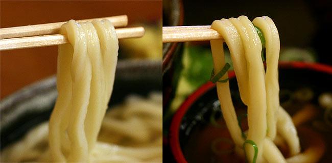 綿谷の麺を持ち上げる。