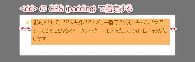 ddのCSS(padding)で指定します。