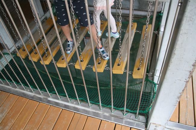 吊橋を渡る
