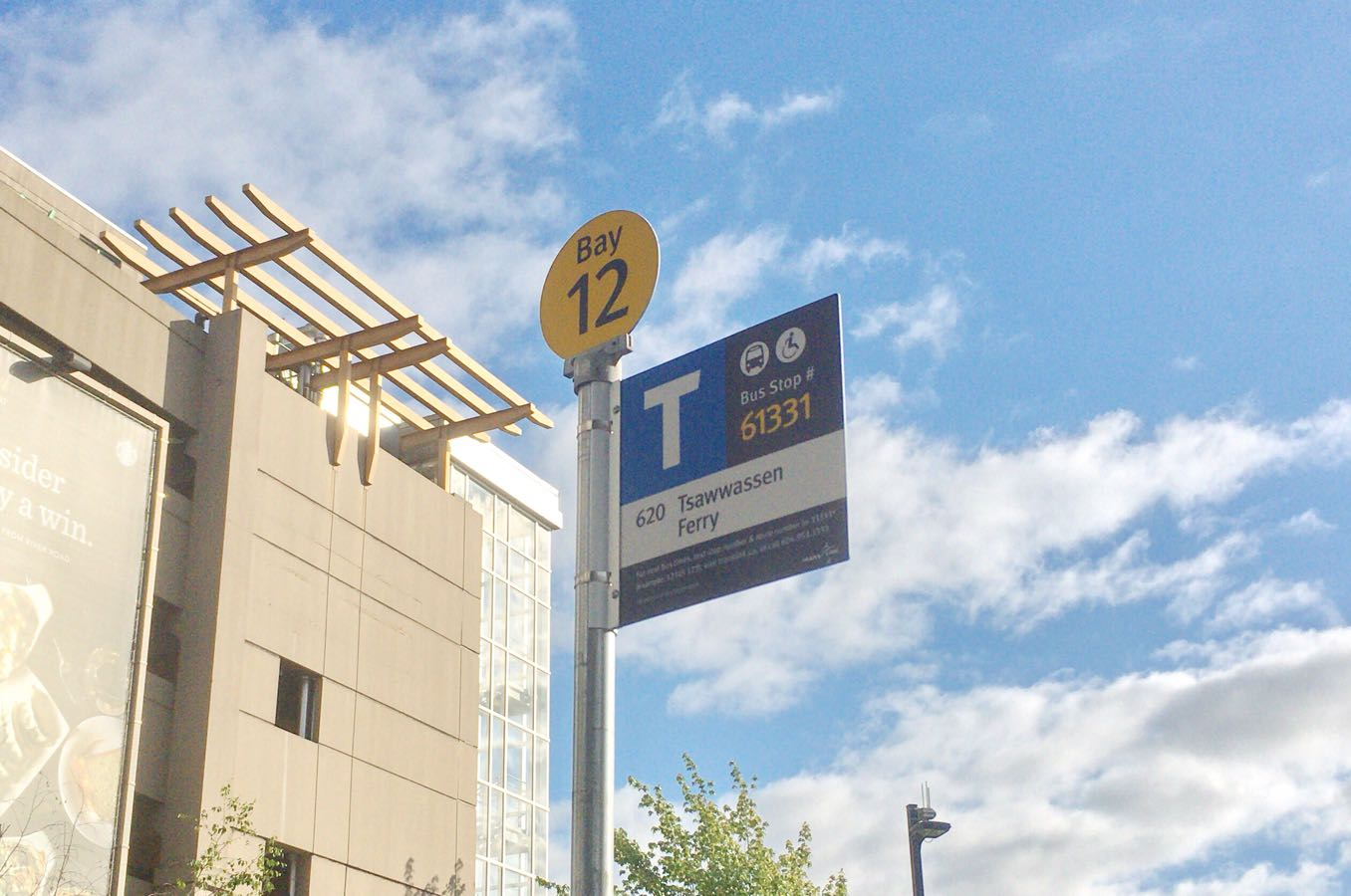 Tsawwassen(ツワッセン)行きのバス停