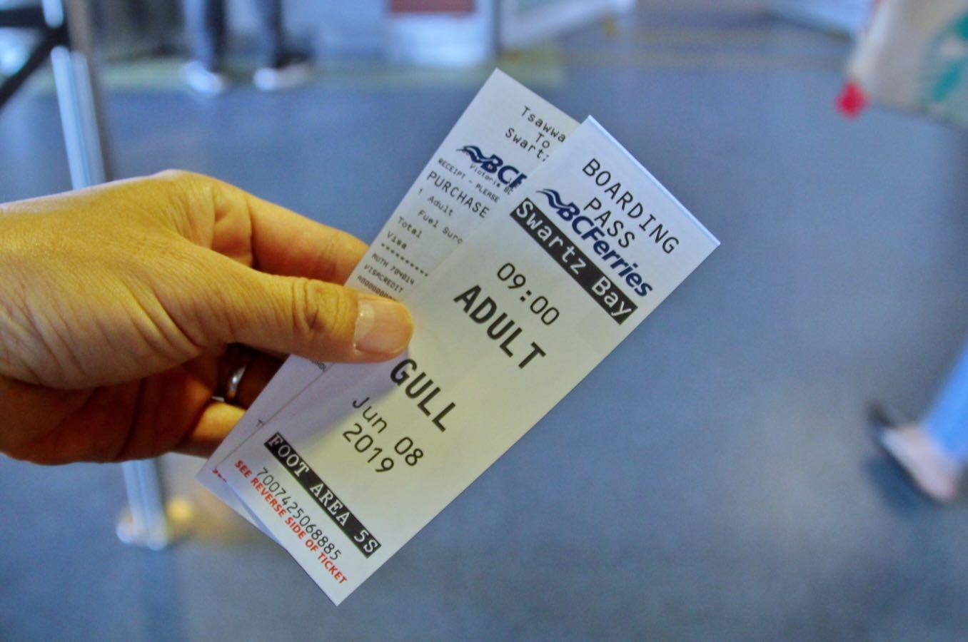 BCフェリーのチケット