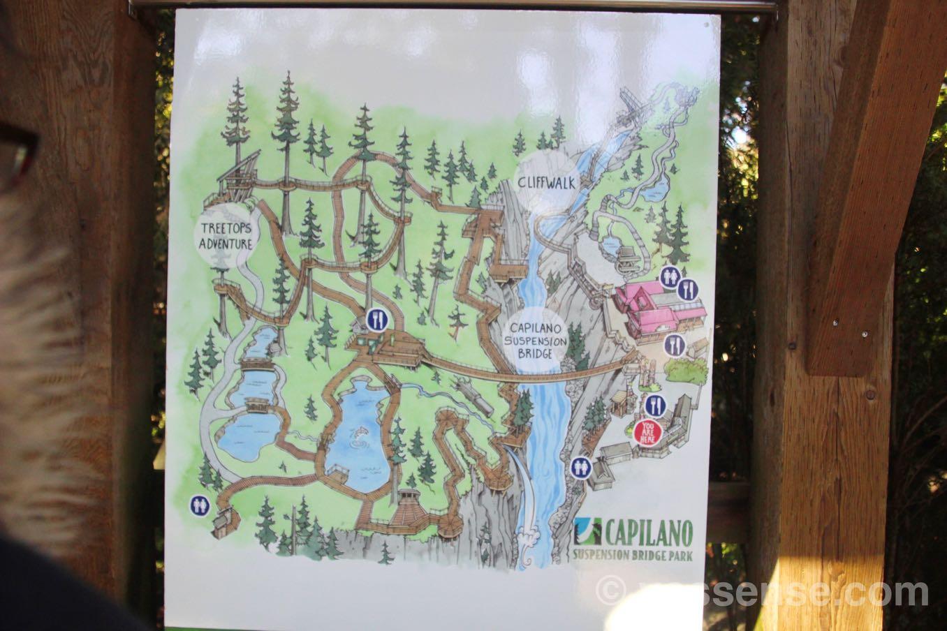 キャピラノ吊り橋公園の全体マップ