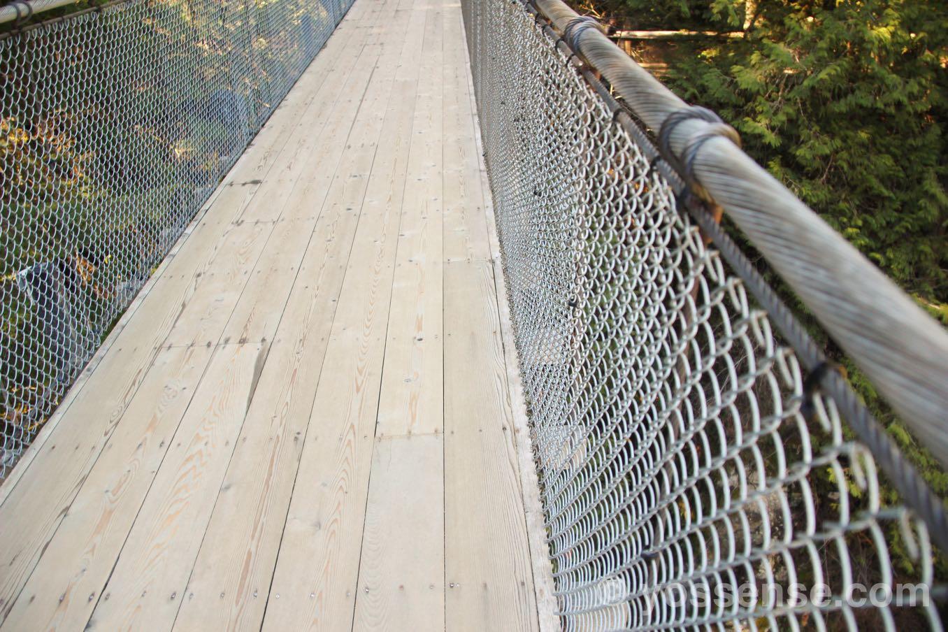 キャピラノ吊り橋の足元と横