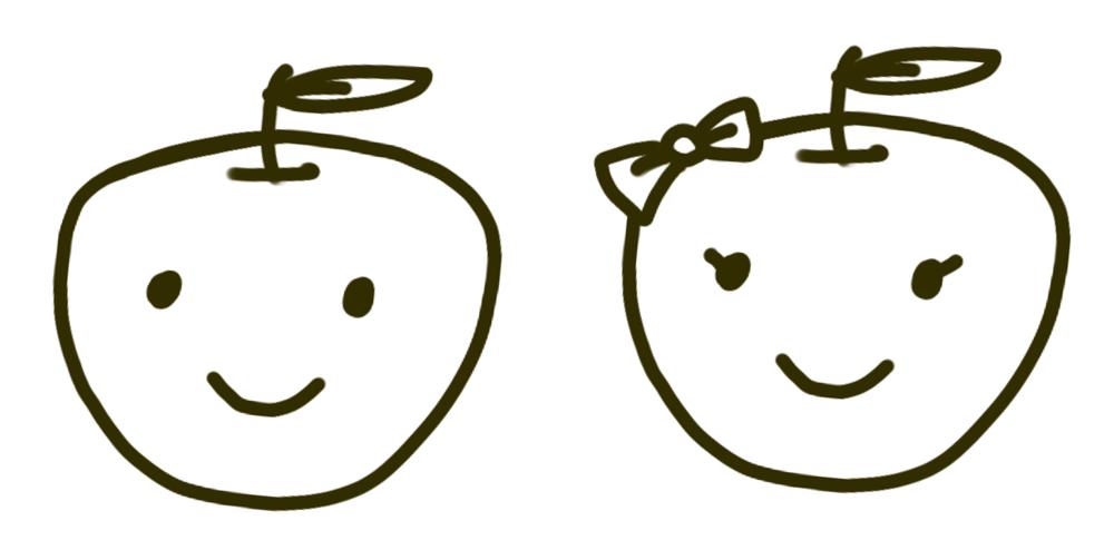 左:リンゴくん・右:リンゴちゃん