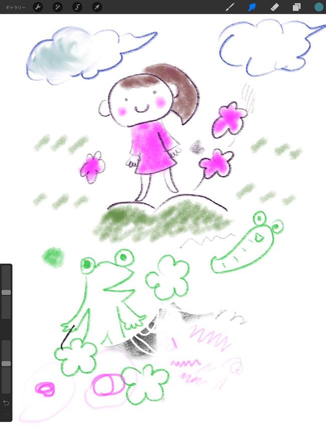 iPad Proにヒビノケイコさんが描いたイラスト