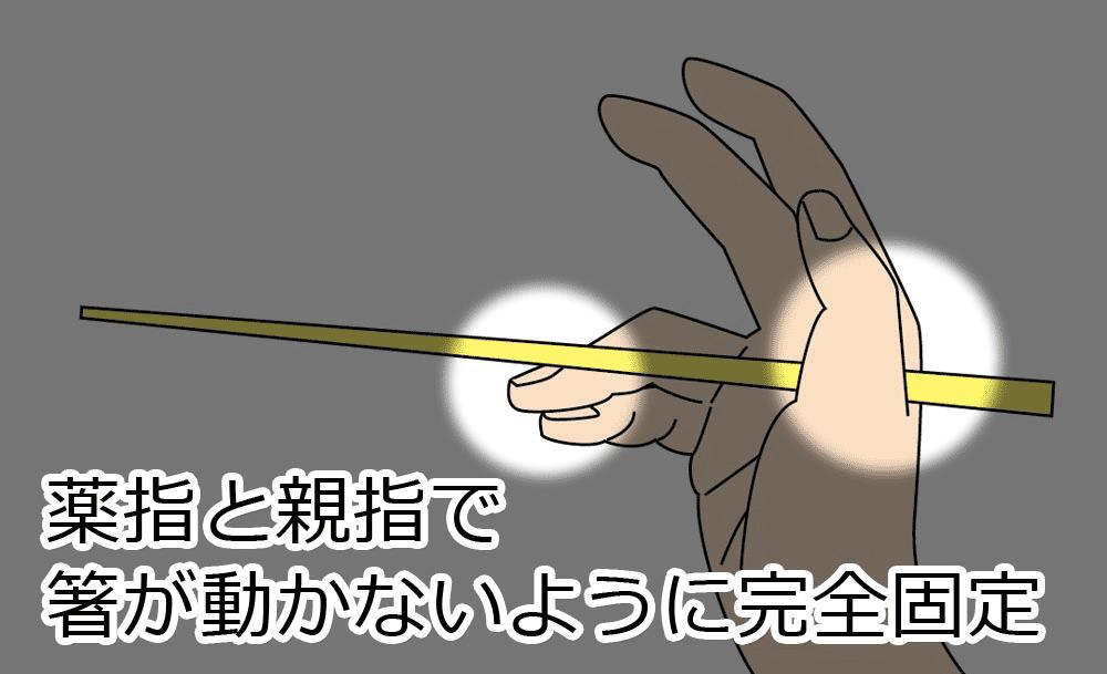 薬指と親指でこの箸が動かないように完全固定