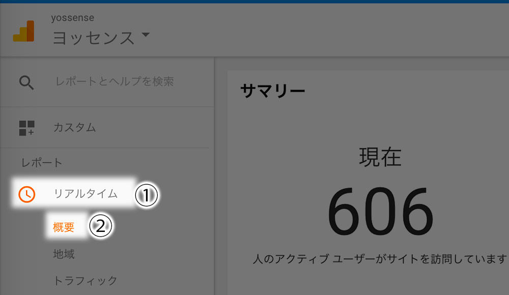 「リアルタイム」→「概要」