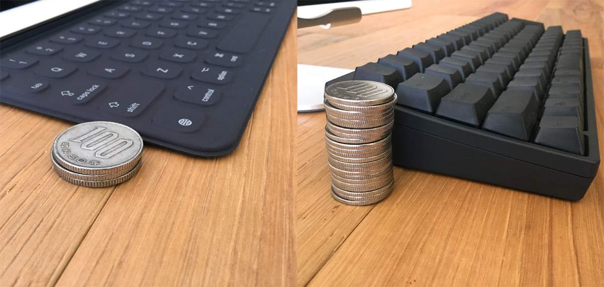 左:Smart Keyboard(100円玉3枚分より少し薄い)・右:HHKB(100円玉23枚分ぐらい)