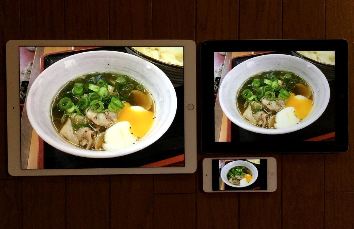 横位置で写真を見たときの比較(左: iPad Pro・右: iPad・下: iPod touch)