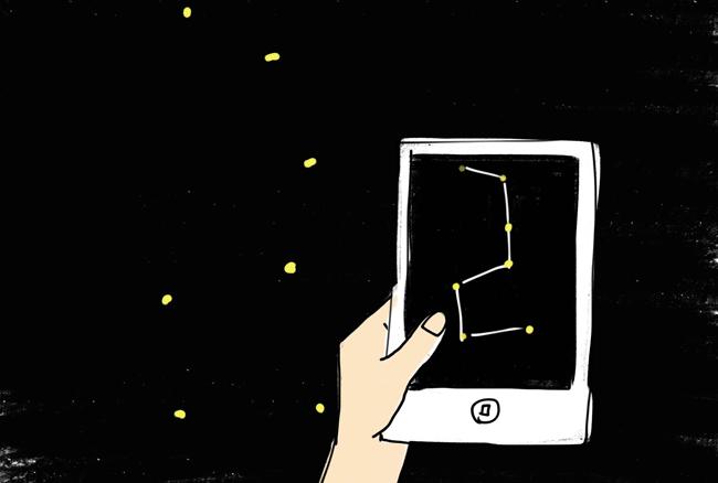 星座と同じ方角にiPadを掲げると!?