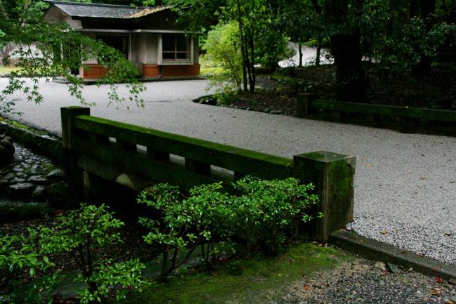 コケがびっしりの緑の橋
