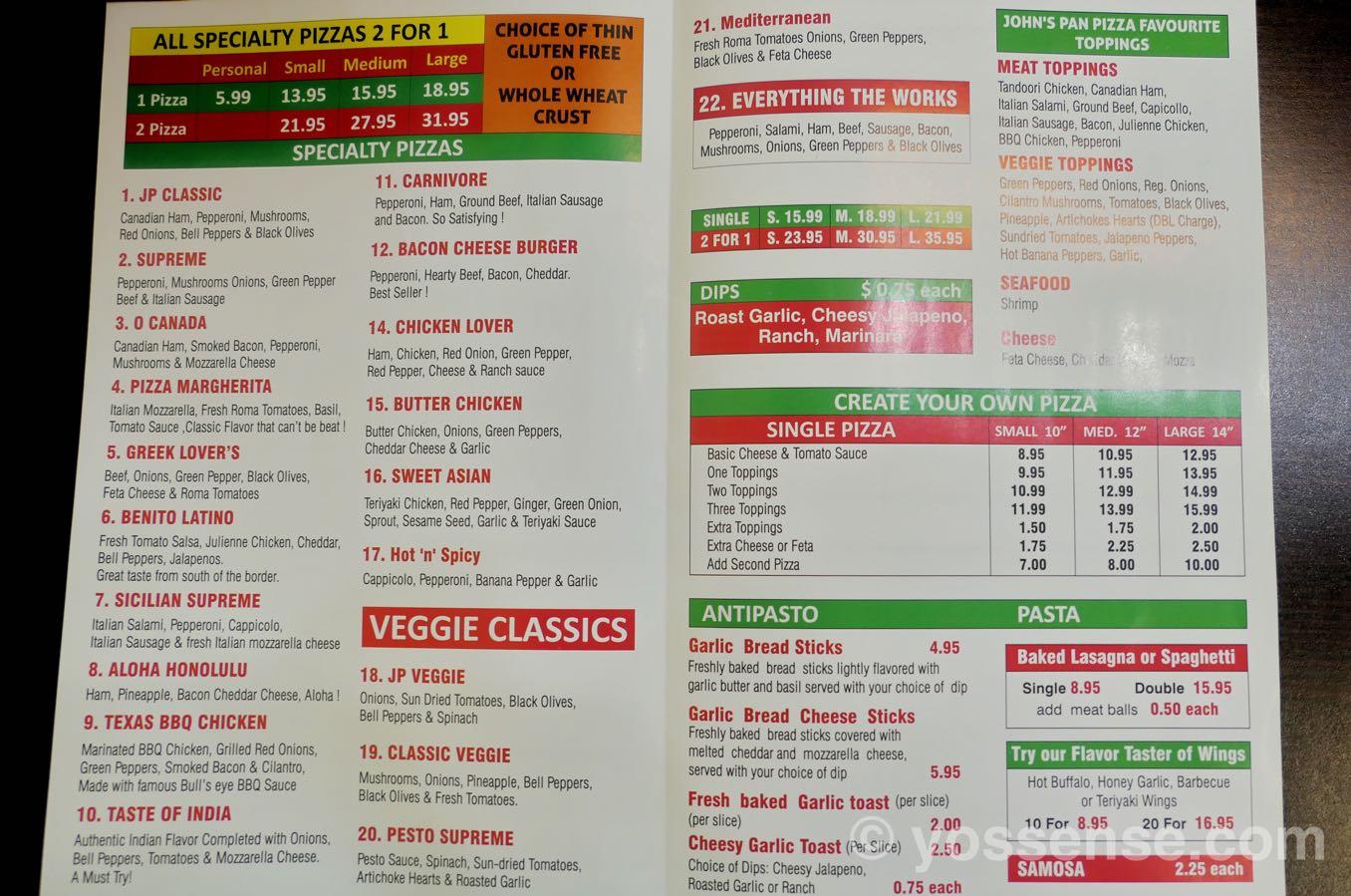 John's Pan Pizzaのメニュー表
