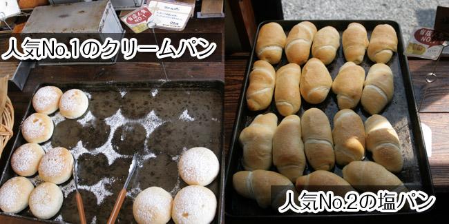 人気No.1: クリームパン95円・人気No.2: 塩パン80円