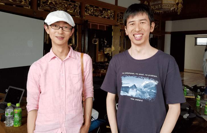 ブロガー界の大御所(左: イケダハヤトさん・右: 松本博樹さん)たちもお寺に