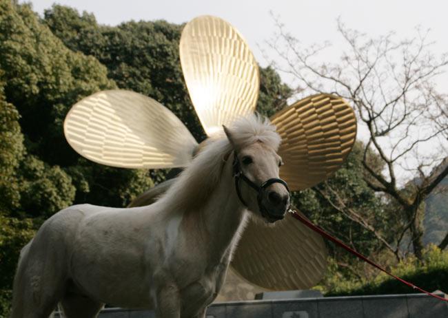 プロペラが神馬の後ろに神々しく