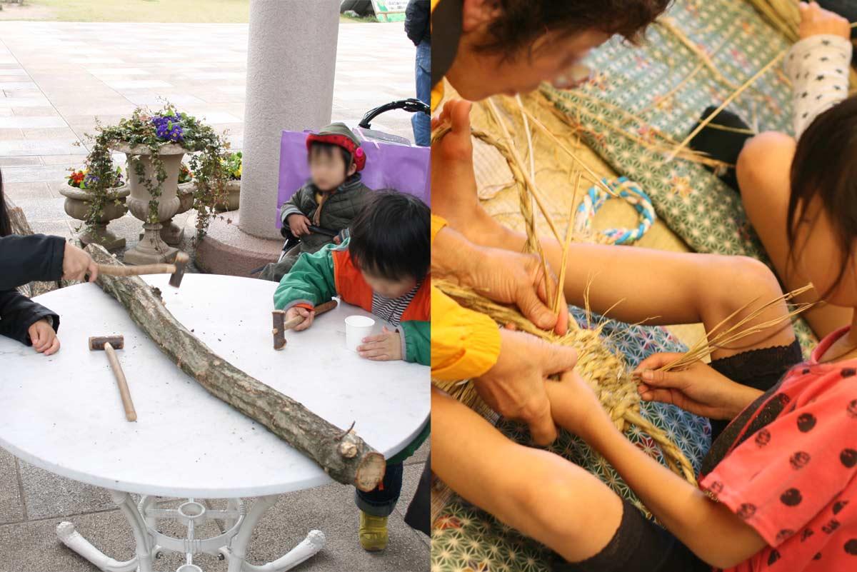 左: シイタケの菌打ち・右: わら草履作り