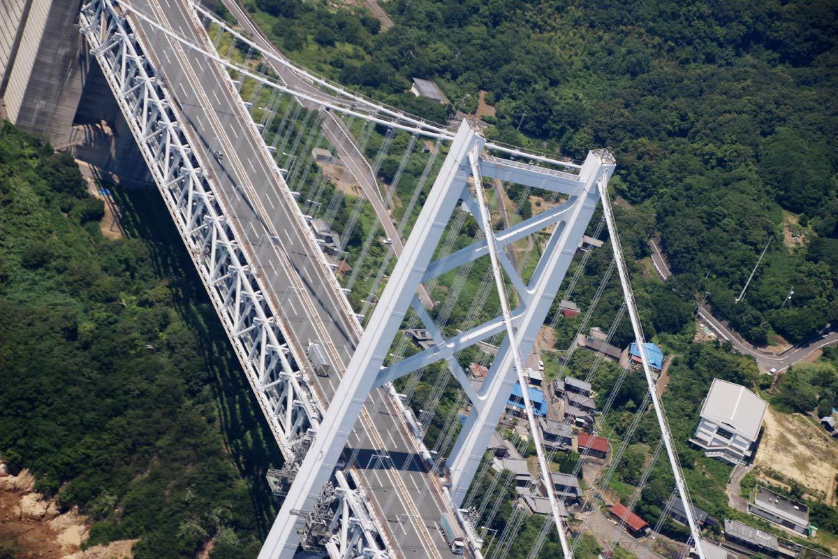 瀬戸大橋を上から見たところ