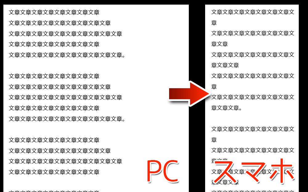 PCで読みやすくするための改行がスマホでは読みにくく……(左:PCの画面・右:スマホの画面)