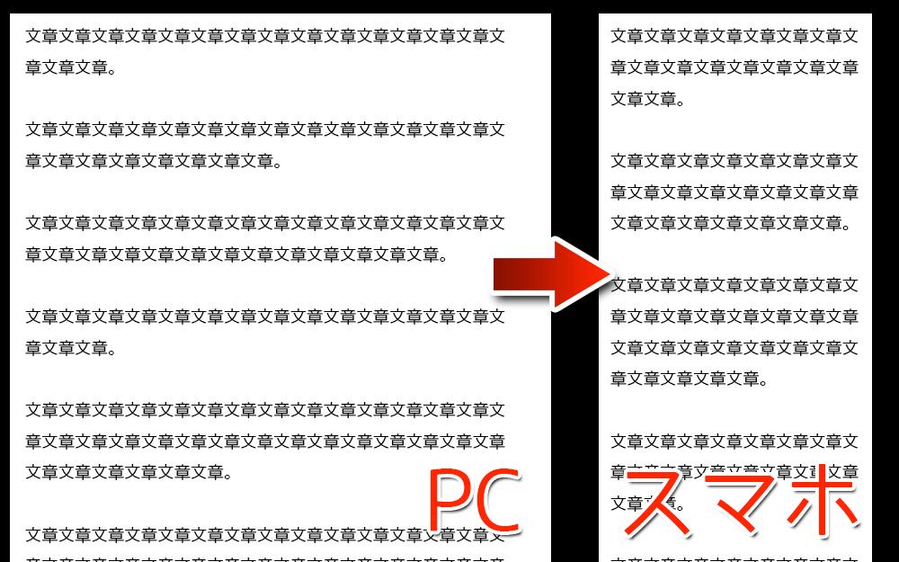 改行をやめて段落だけにするとスマホでも読みやすく(左:PCの画面・右:スマホの画面)