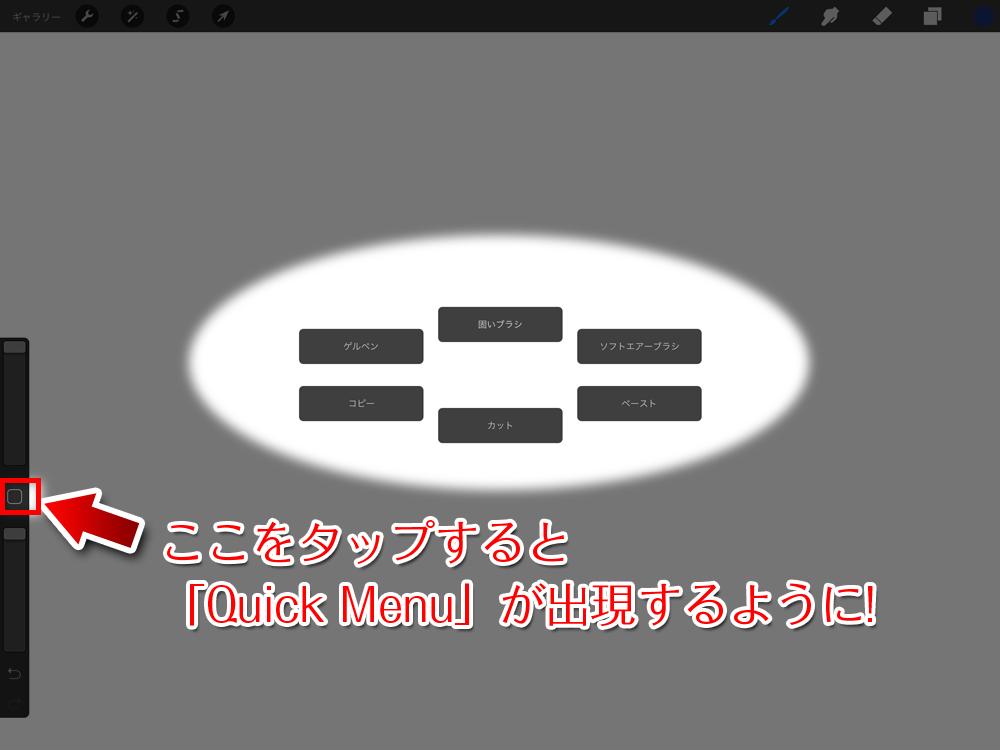 画面の中央の端にある「 □ 」をタップすると「Quick Menu」が出るようになります