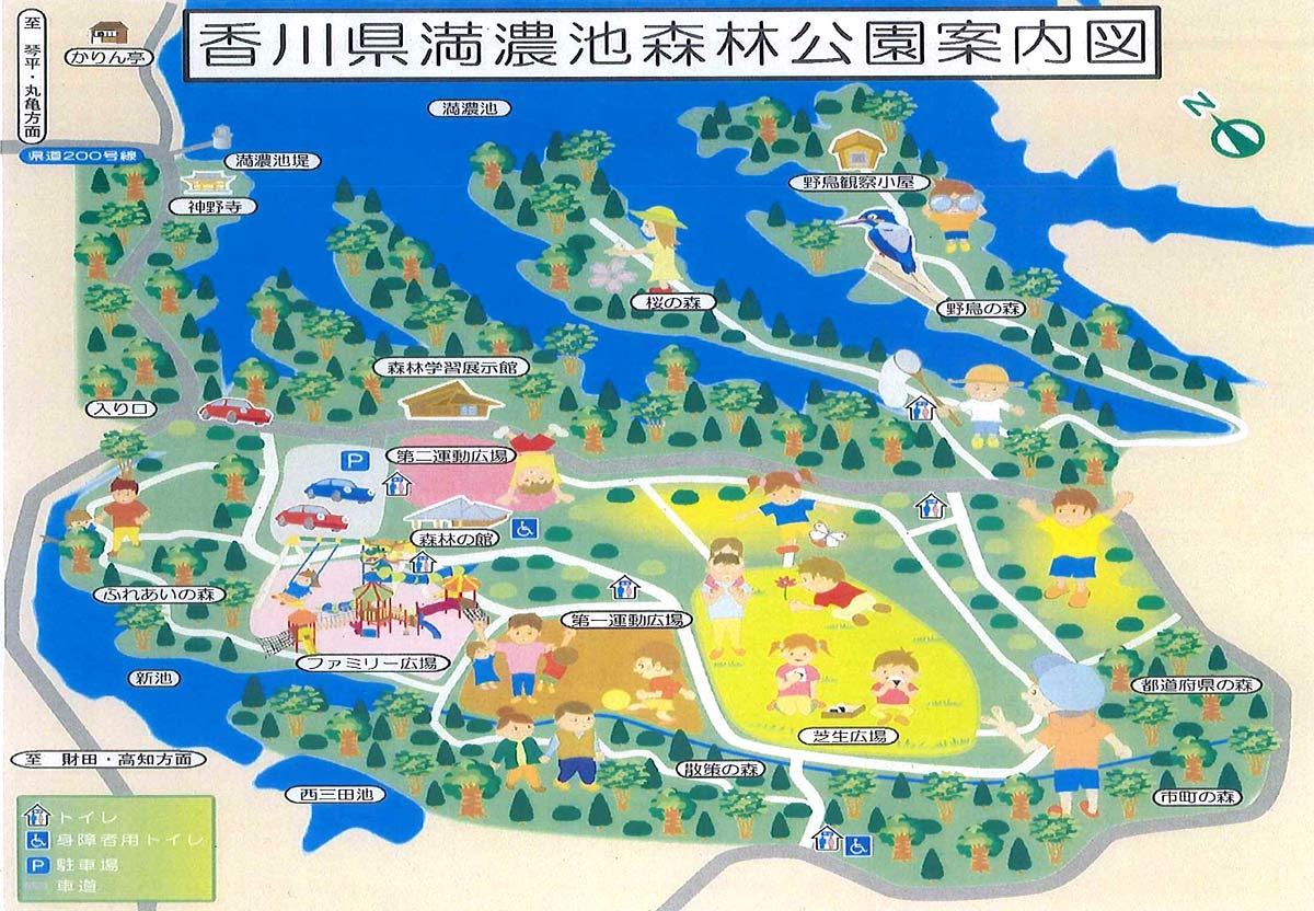 満濃池森林公園の地図