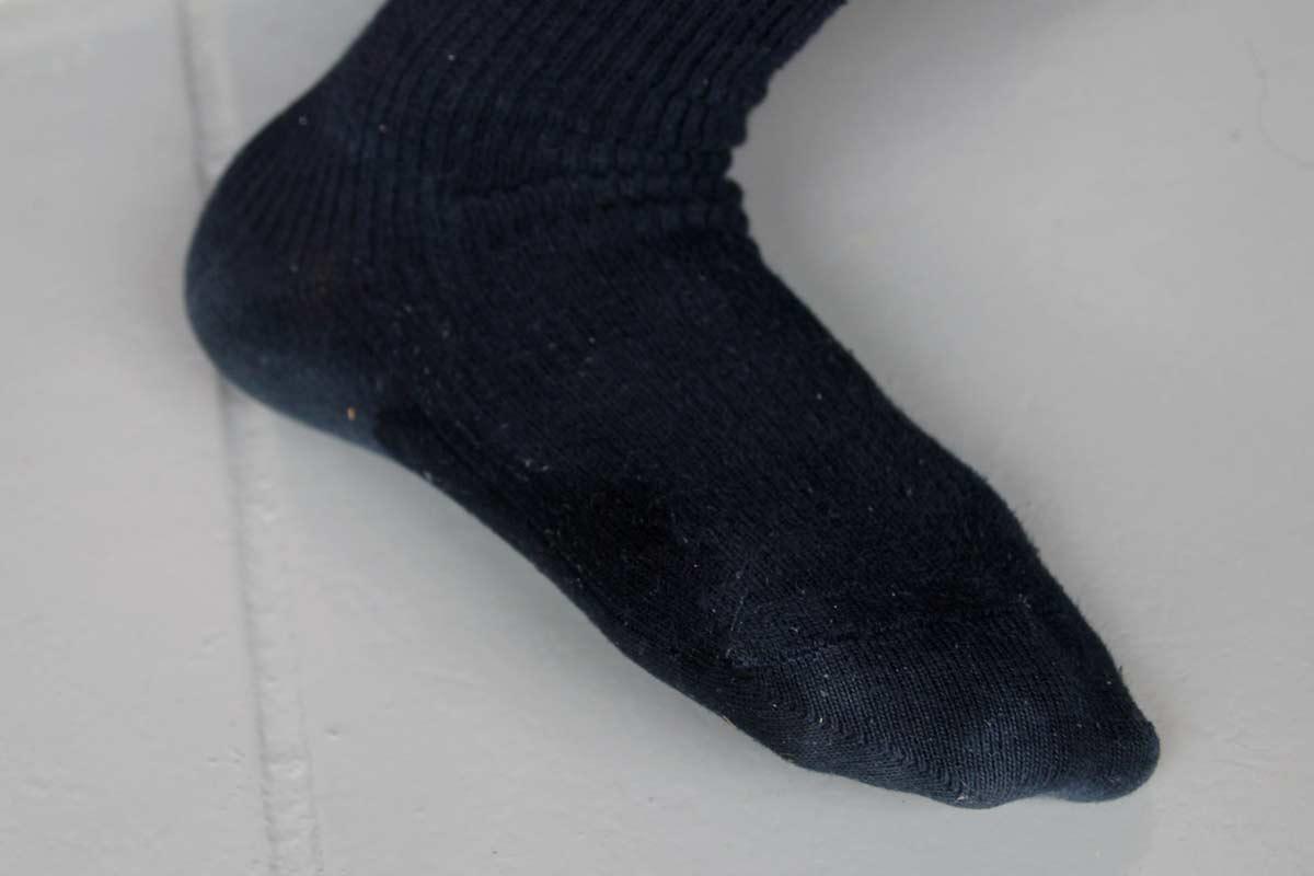 さすがにやりすぎたので靴下にちょっと浸透した(笑)