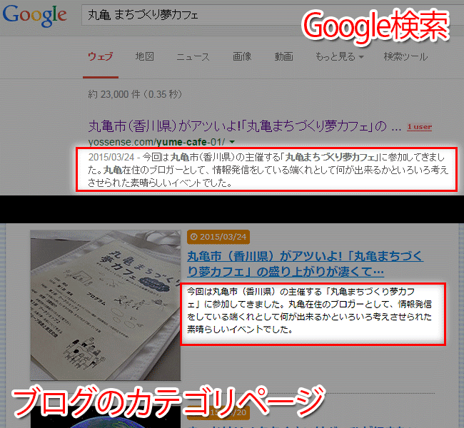 Google検索とカテゴリページ