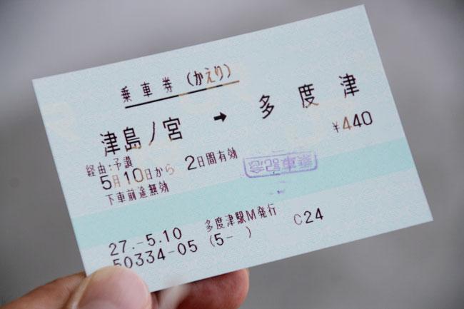 津島ノ宮からの帰りの切符