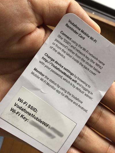 VodafoneのポケットWi-Fiのパスワード