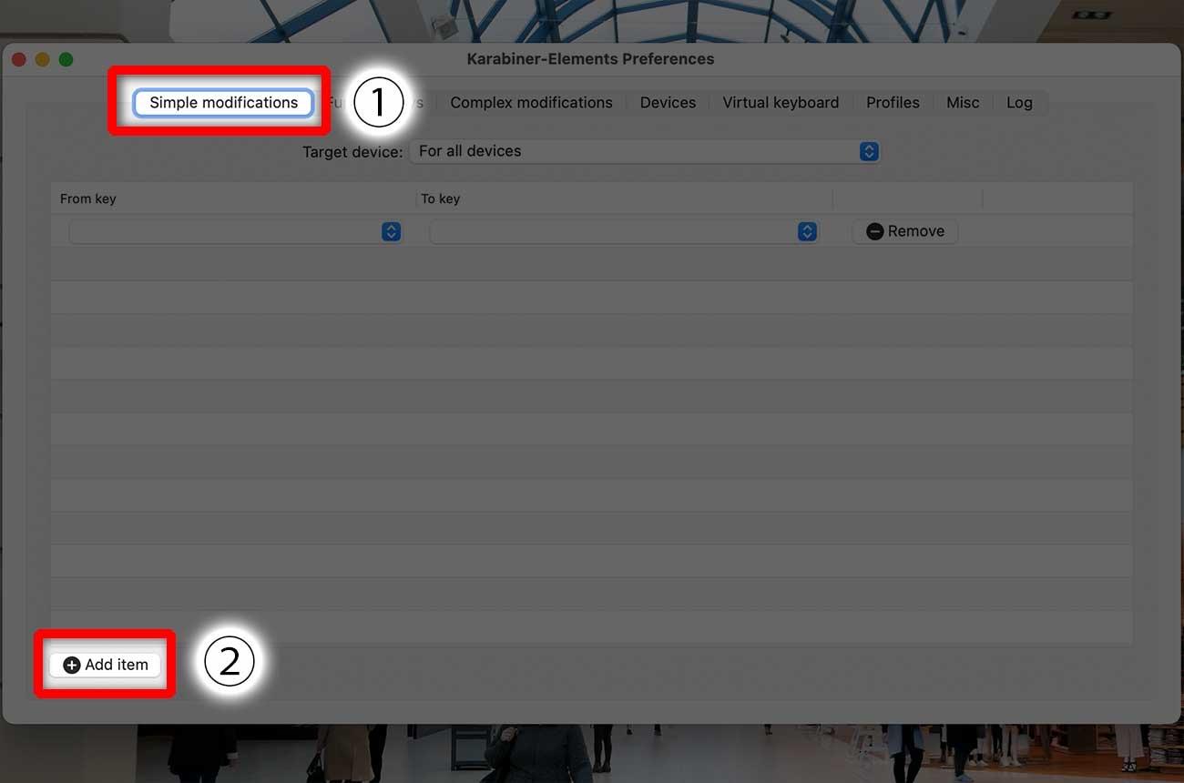 「Simple modifications」のタブをクリック ]→[「+Add item」をクリック ]