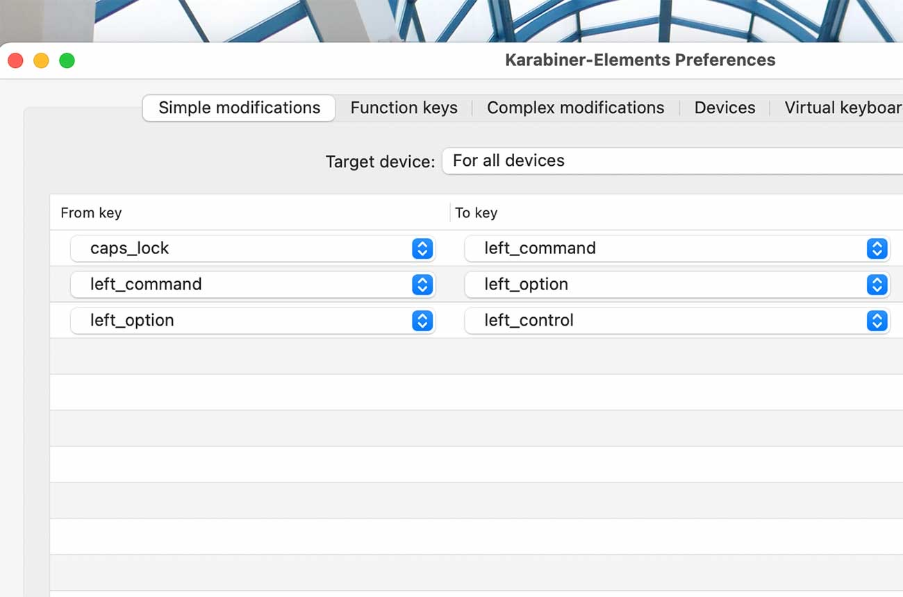 MacBook Proの内蔵キーボードでの設定例