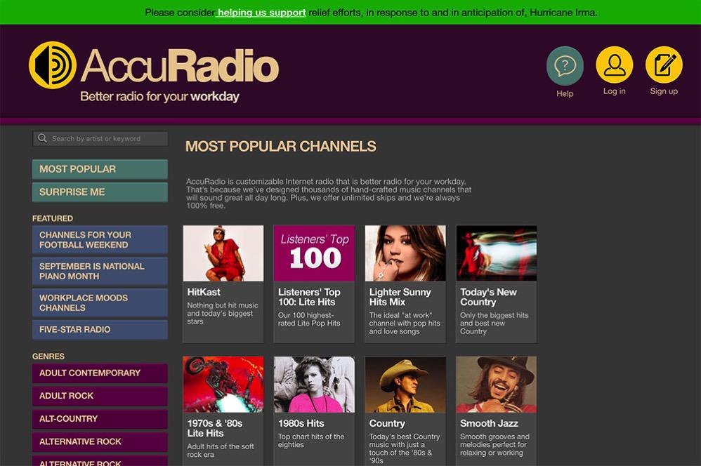 AccuRadioのサイト