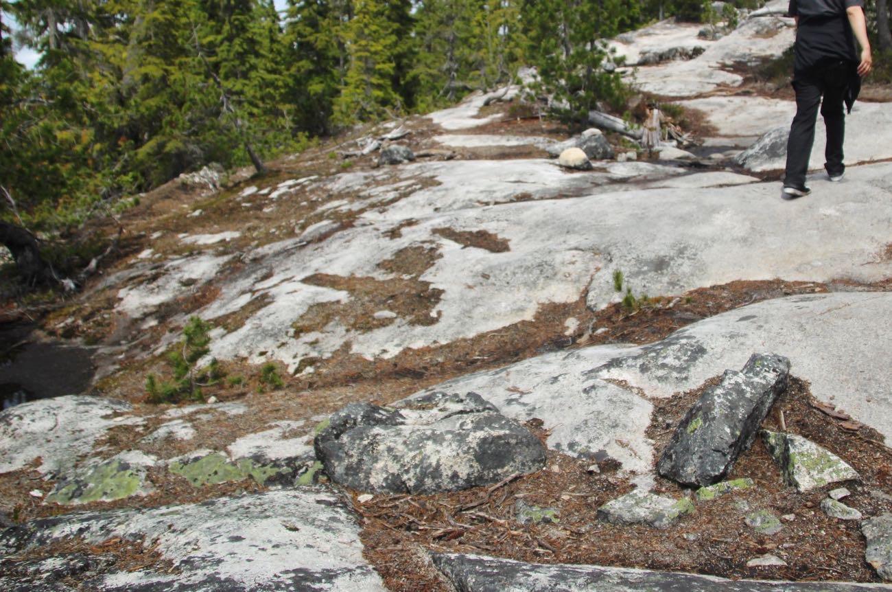 白い岩肌を登る