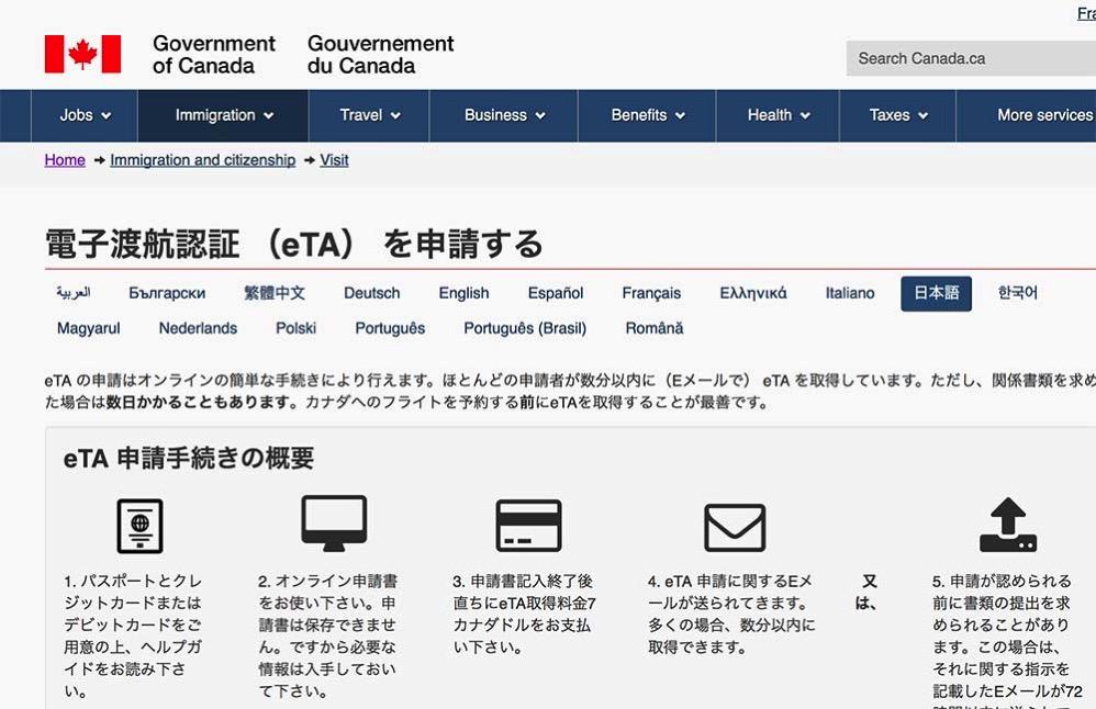 eTAを申請するサイト