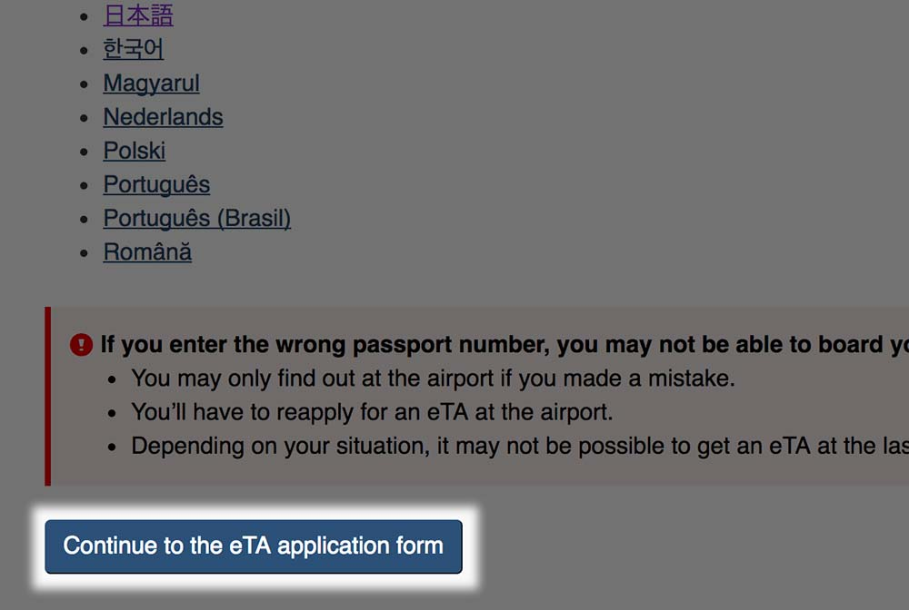 「Continue to the eTA application form」をクリック