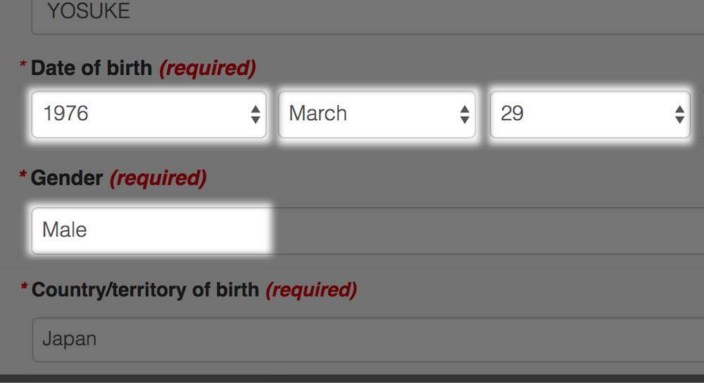 生年月日・性別・出身国