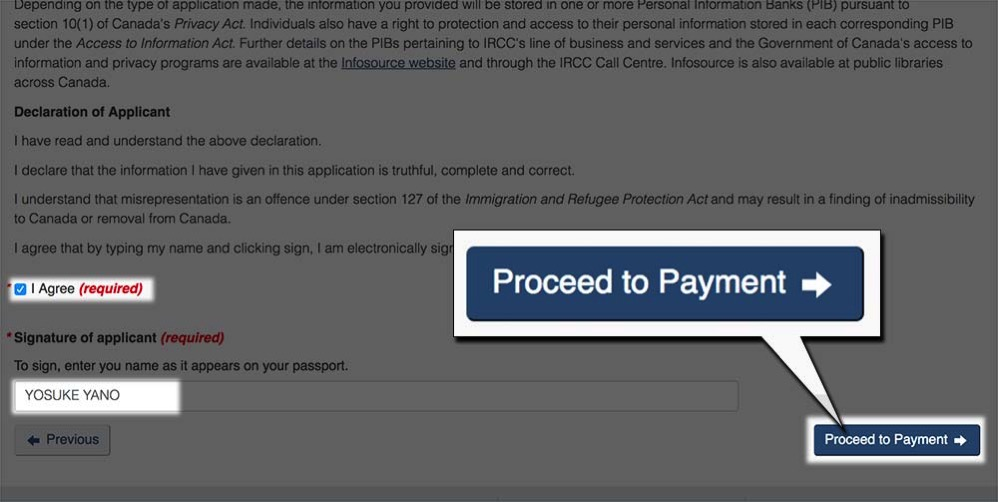 同意して「Proceed to Payment」をクリック