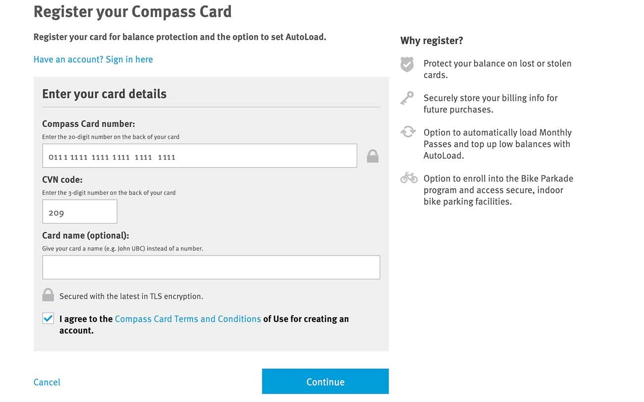コンパスカードの登録をネットでやる