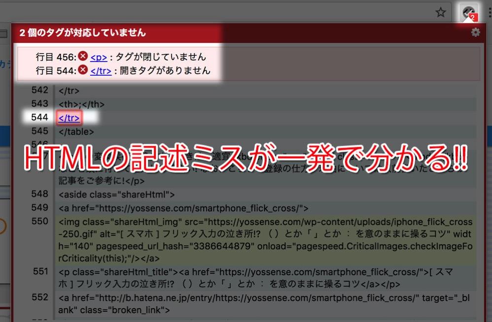HTMLチェッカーで簡単にHTMLの文法ミスを発見!