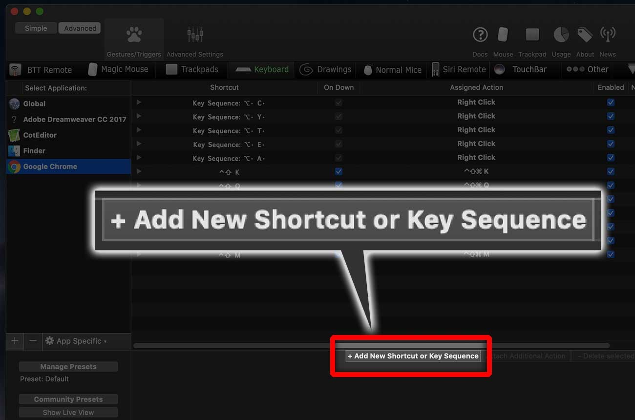 「+ Add New Shortcut or Key Sequence」をクリック