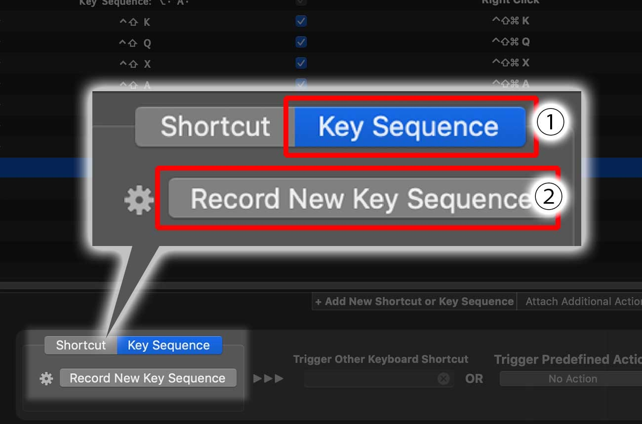 「Key Sequence」→「Record New Key Sequence」をクリック