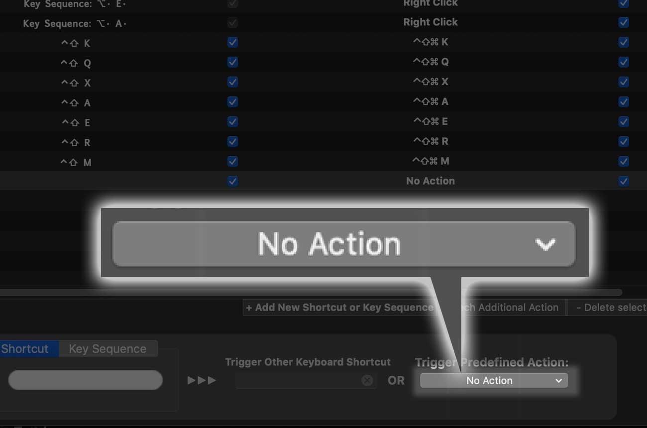 右下の「No Action」をクリック