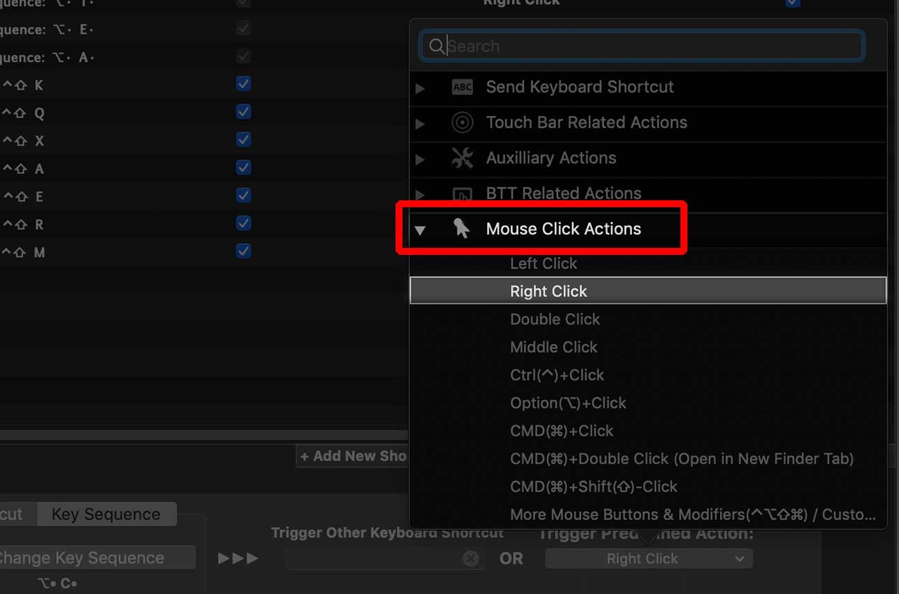 「Mouse Click Actions」を選択