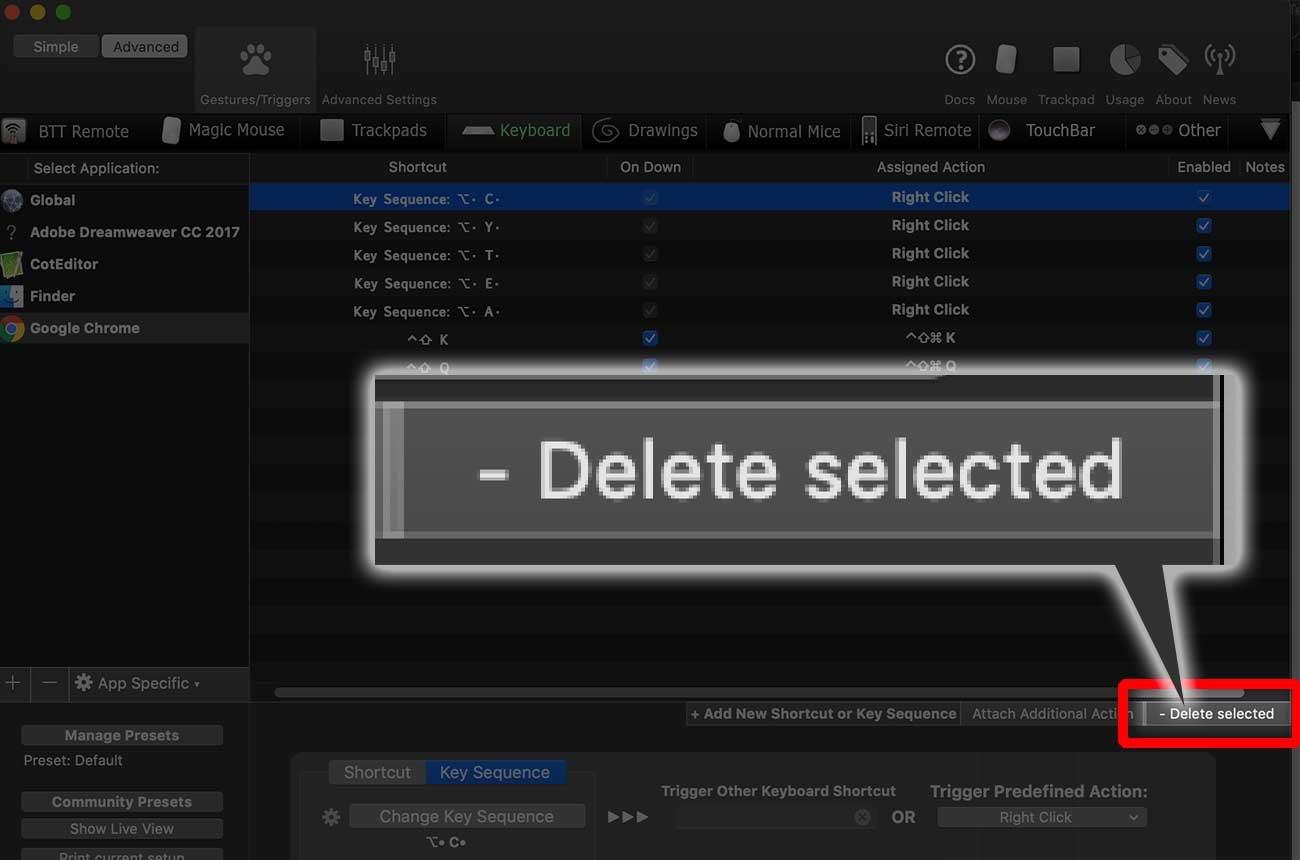 削除したいときは「- Delete selected」