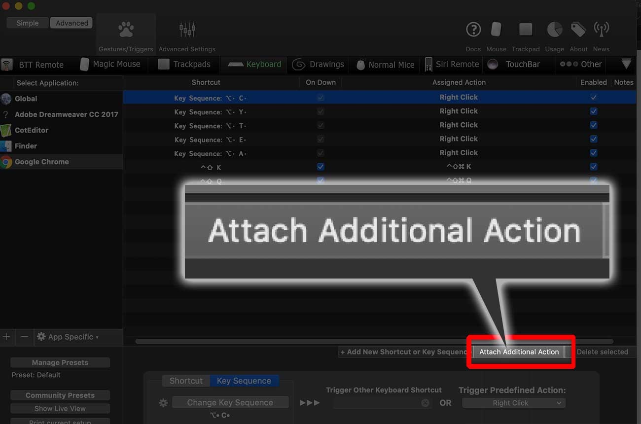 「Attach Additional Action」をクリック