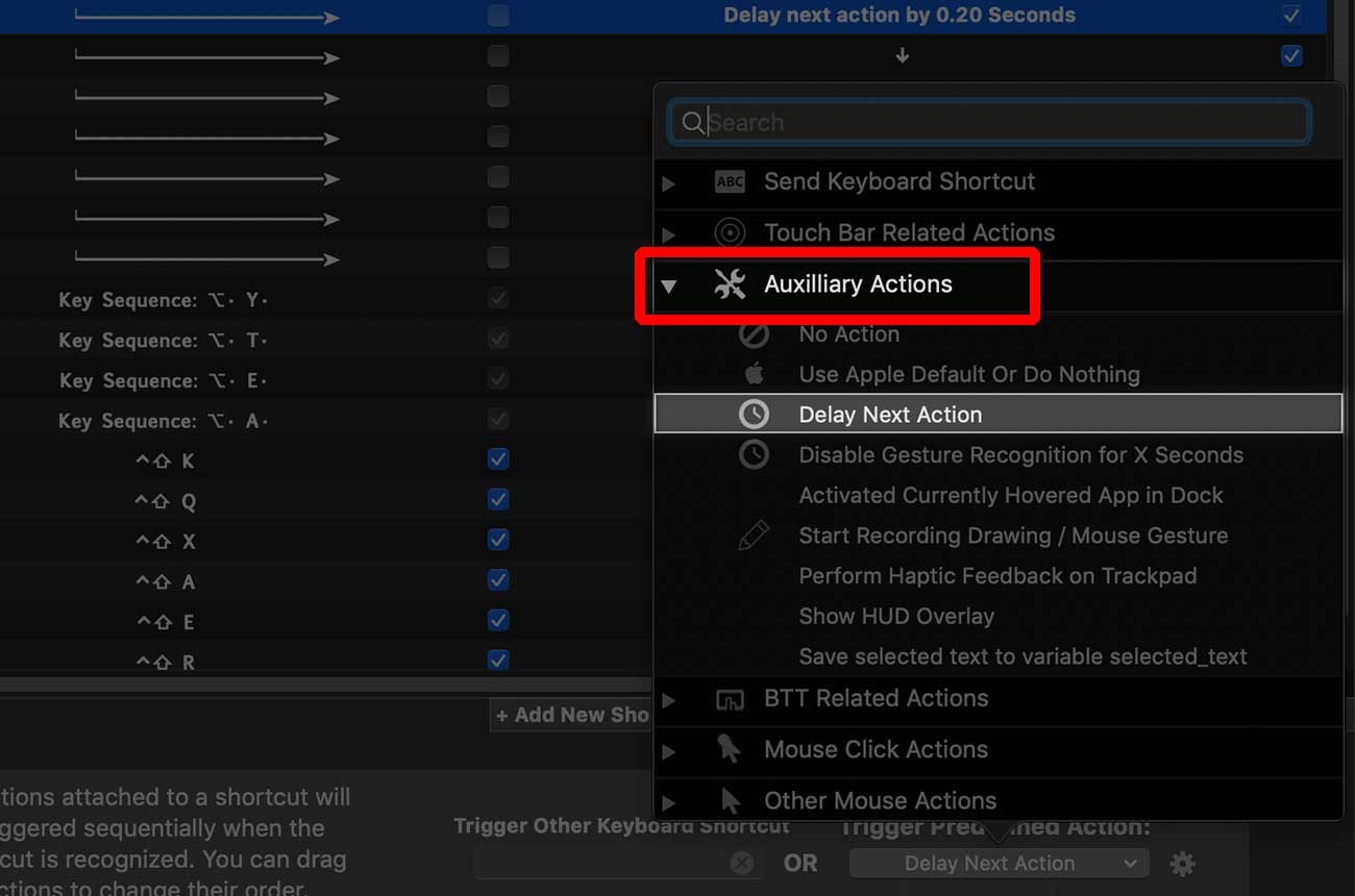 「Auxilliary Actions」→「Delay Next Action」
