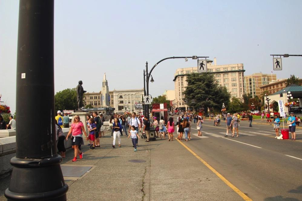 インナーハーバーの前を通る「ガバメントストリート」