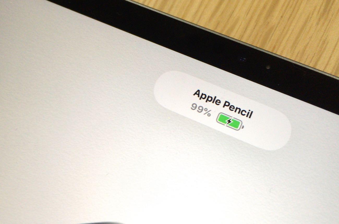 Apple PencilをiPad Proにくっつけるとバッテリー容量が画面に表示される
