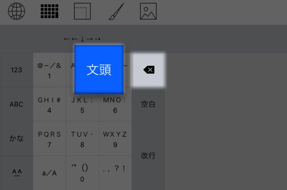「削除キー」を左にフリックするとカーソルの位置からその行の左端までの文字が一気に消える
